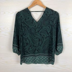 {NEW} Cato Green Paisley Peasant Top
